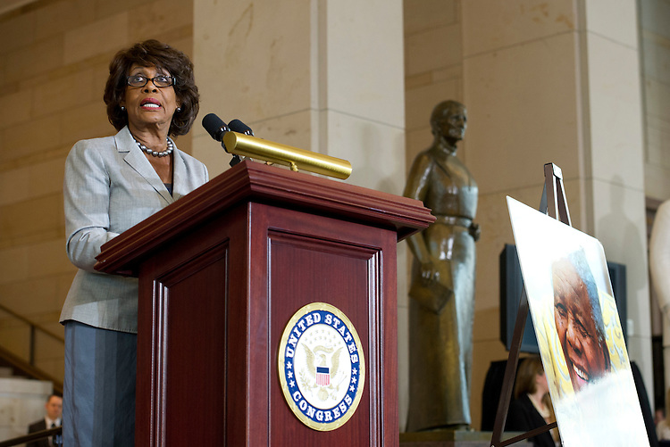 UNITED STATES - July 18: Rep. Maxine Waters, D-GA., during an event in Capitol Visitor Center Emancipation Hall to honor Nelson Mandela and to celebrate his birthday on July 18, 2013. (Photo By Douglas Graham/CQ Roll Call)