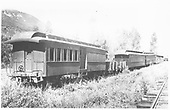 Passenger end of RGS combination car #259, followed by gondola #0620, coaches #260 &amp; #256 and two B&amp;B &quot;gang&quot; cars on West Durango storage track.<br /> RGS  West Durango, CO  Taken by Jackson, Richard B. - 7/4/1937