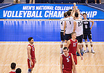 07 MAY: Brigham Young University celebrate a winning point against Ohio State University during the Division I Men's Volleyball Championship held at Rec Hall on the Penn State University campus in University Park, PA. Ohio State defeated BYU 3-1 for the national title. Ben Solomon/NCAA Photos