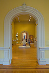 Doorway to visitor viewing art and exhibits, interior, Renwick Gallery, a branch of the Smithsonian American Art Museum, Washington DC, USA, (not released), editorial only.