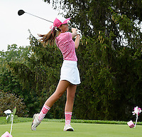 Milton's Mia Seeman tees off on the first hole, during the Crusade Fore A Cure girls golf tournament, hosted by Madison Edgewood and held at Maple Bluff Country Club on Monday, August 31, 2015 in Maple Bluff, Wisconsin