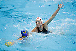 INDIANAPOLIS, IN - MAY 14: Makenzie Fischer (11) of Stanford University defends Mackenzie Barr (10) of UCLA during the Division I Women's Water Polo Championship held at the IU Natatorium-IUPUI Campus on May 14, 2017 in Indianapolis, Indiana. Stanford edges UCLA, 8-7, to win fifth women's water polo title in the past seven years. (Photo by Joe Robbins/NCAA Photos/NCAA Photos via Getty Images)