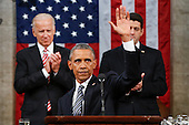 President Barack Obama waves at the conclusion of his State of the Union address to a joint session of Congress on Capitol Hill in Washington, Tuesday, Jan. 12, 2016. <br /> Credit: Evan Vucci / Pool via CNP