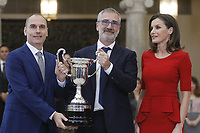 MADRID, SPAIN - JANUARY 10: Javier Fesser (C) recieves the National Sports Award 2017 from Queen Letizia of Spain (R) during the National Sports Awards 2017 at the El Pardo Palace on January 10, 2019 in Madrid, Spain.  ***NO SPAIN***<br /> CAP/MPI/RJO<br /> &copy;RJO/MPI/Capital Pictures