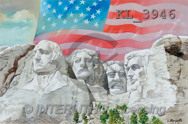 Interlitho, Luis, LANDSCAPES, paintings, mount rushmore(KL3946,#L#) Landschaften, Schiffe, paisajes, barcos, llustrations, pinturas