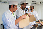 Dressed as sushi masters Rigoberto Uran and Mark Cavendish are taught how to cut and cook the eels before the Tour de France Saitama Crit&eacute;rium 2017 held around the streets os Saitama, Japan. 3rd November 2017.<br /> Picture: ASO/Pauline Ballet | Cyclefile<br /> <br /> <br /> All photos usage must carry mandatory copyright credit (&copy; Cyclefile | ASO/Pauline Ballet)