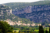 The village of Corconne. Pic St Loup. Languedoc. Les Contreforts des Cevennes. France. Europe.