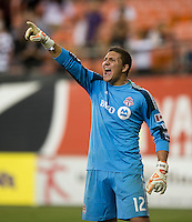 Joseph Bendik (12) of Toronto FC yells to his team during a game at RFK Stadium in Washington, DC.  D.C. United tied Toronto FC, 1-1.