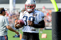 Wednesday, August 17, 2016: New England Patriots running back Brandon Bolden (38) runs through a drill at a joint training camp session between the Chicago Bears and the New England Patriots held at Gillette Stadium in Foxborough Massachusetts. Eric Canha/CSM