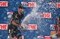 champaign for stage winner Elia Viviani (ITA/Sky)<br /> <br /> 2015 Giro<br /> stage 2: Albenga - Genova (177km)