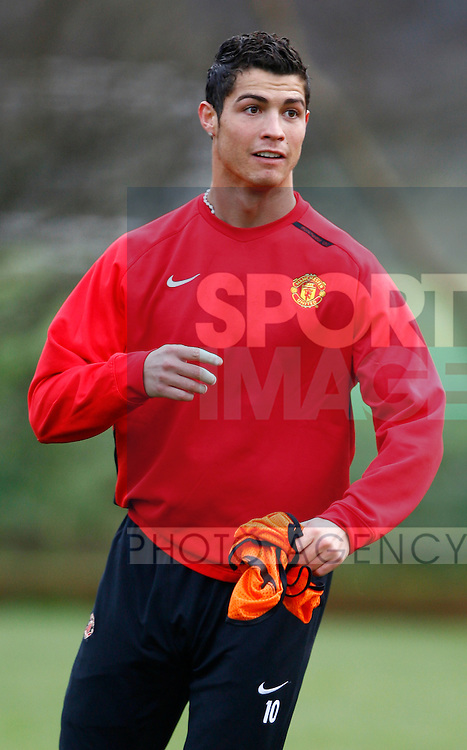 Manchester United's Cristiano Ronaldo during training before the Champions League match against Sporting Lisbon on Tuesday night