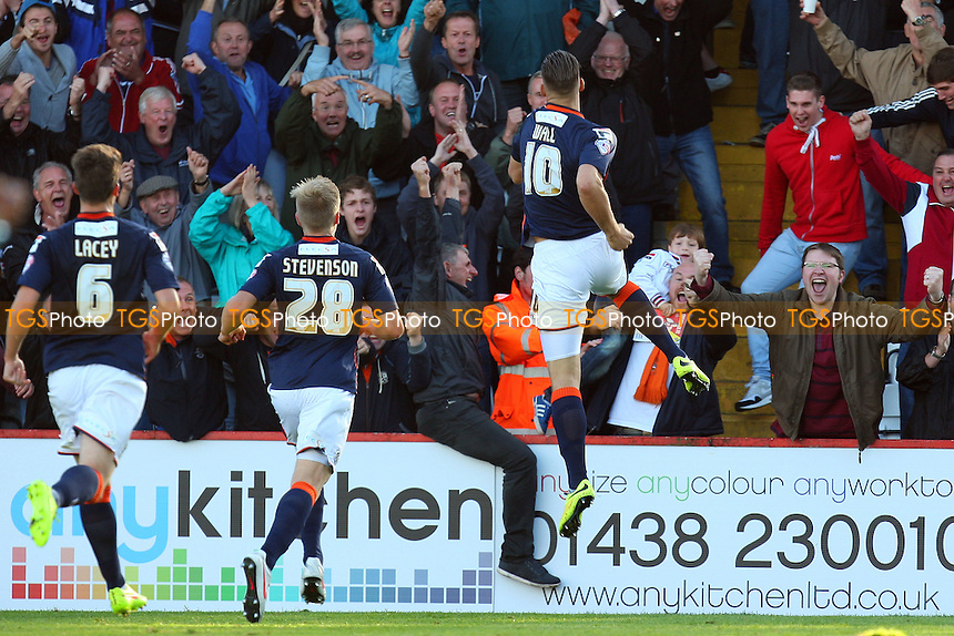 Alex Wall of Luton Town celebrates scoring the second goal - Stevenage vs Luton Town - Sky Bet League Two action at the Lamex Stadium on 04/10/2014 - MANDATORY CREDIT: Dave Simpson/TGSPHOTO - Self billing applies where appropriate - 0845 094 6026 - contact@tgsphoto.co.uk - NO UNPAID USE