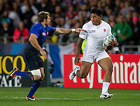 Rugby World Cup Auckland  England v France  Quarter Final 2 - 08/10/2011.MANU TUILAGI (England) running at VINCENT CLERC (France).Photo Frey Fotosports International/AMN Images