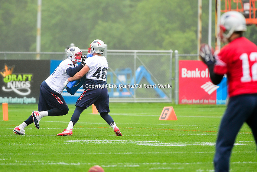 June 6, 2017: New England Patriots tight end Rob Gronkowski (87) works with fullback James Develin (46) on a blocking drill at the New England Patriots mini camp held on the practice field at Gillette Stadium, in Foxborough, Massachusetts. Eric Canha/CSM