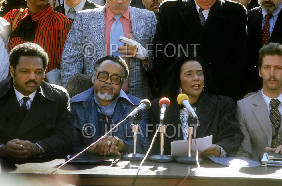 Atlanta, Georgia, U.S.A, 15 January, 1987. The 58th birthday memorial of Martin Luther King. From left to right: Reverend Jesse Jackson, Hosea Williams, Coretta King, Dean Carter.
