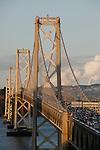 The San Francisco Bay Bridge at sunset