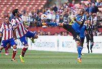 San Francisco, California - July 27, 2014: San Jose Earthquakes face off against Atletico Madrid during the Copa Euroamericana at Candlestick Park on Sunday.