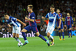 League Santander 2017/2018. Game: 03.<br /> FC Barcelona vs RCD Espanyol: 5-0.<br /> Javi Fuego vs Ivan Rakitic.
