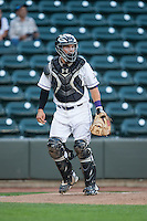 Winston-Salem Dash catcher Brett Austin (7) on defense against the Lynchburg Hillcats at BB&T Ballpark on April 28, 2016 in Winston-Salem, North Carolina.  The Dash defeated the Hillcats 4-1.  (Brian Westerholt/Four Seam Images)