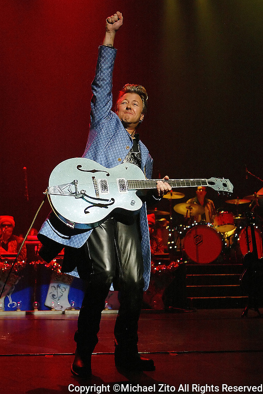 Brian Setzer Orchestra performs at the Gibson Amphitheater on 12-15-06