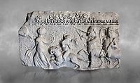 Roman relief sculpture of the Dionysus Festival. Roman 2nd century AD, Hierapolis Theatre.. Hierapolis Archaeology Museum, Turkey