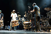 22/05/2006 Barbican Hall, London, England. Brazilian Mangue Beat band Nacao Zumbi; drummers and bassist.