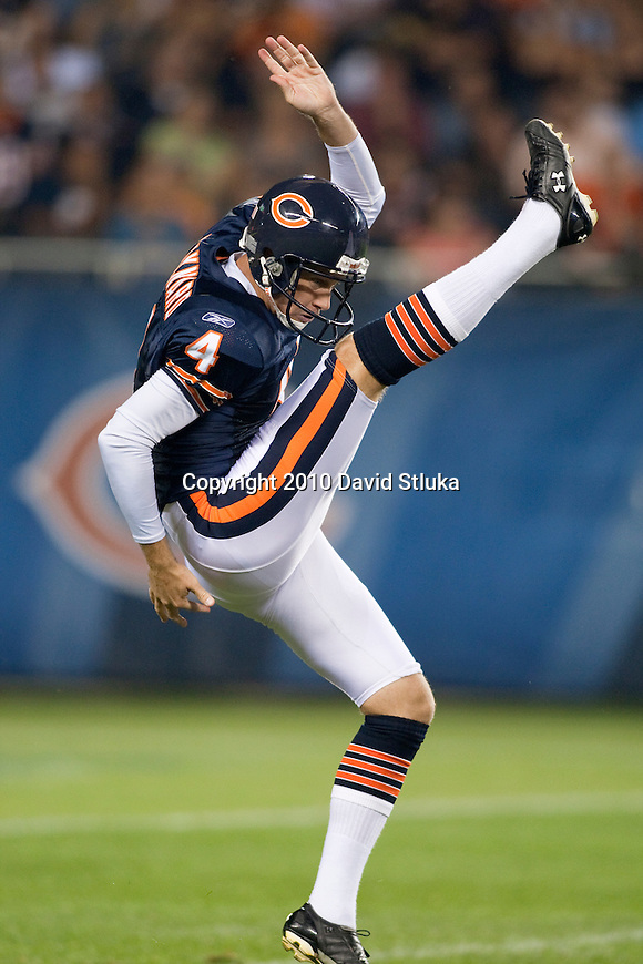 Chicago Bears punter Brad Maynard (4) punts the ball during an NFL preseason football game against the Oakland Raiders in Chicago, Illinois on August 21, 2010. The Raiders won 32-17. (AP Photo/David Stluka)