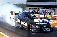 Aug. 17, 2013; Brainerd, MN, USA: NHRA funny car driver Cruz Pedregon during qualifying for the Lucas Oil Nationals at Brainerd International Raceway. Mandatory Credit: Mark J. Rebilas-