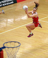 28.10.2014 England's Jade Clarke in action during the Silver Ferns V England netball match played at the Rotorua Events Centre in Rotorua. Mandatory Photo Credit ©Michael Bradley.