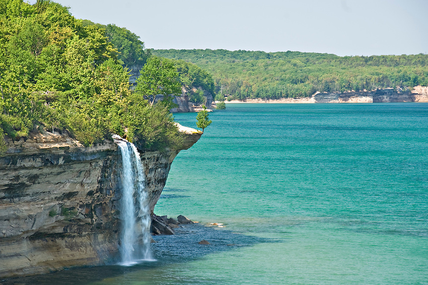 Spray Falls plunge into Lake Superior at Pictured Rocks National Lakeshore in Michigan.