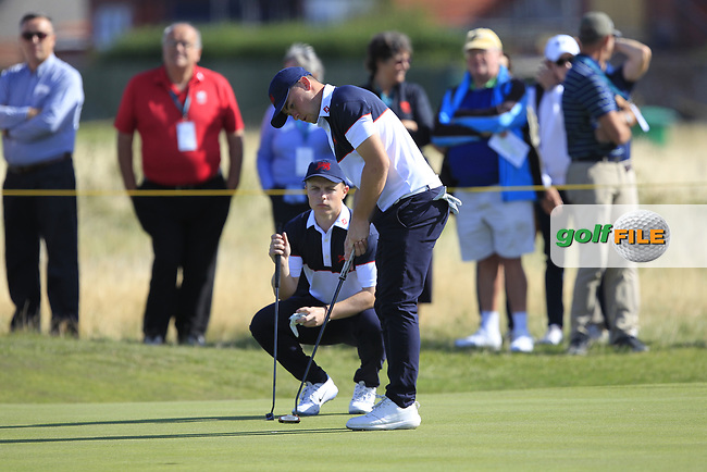 Conor Purcell (GB&I) and Alex Fitzpatrick (GB&I) on the 16th during Day 2 Foursomes of the Walker Cup, Royal Liverpool Golf CLub, Hoylake, Cheshire, England. 08/09/2019.<br /> Picture Thos Caffrey / Golffile.ie<br /> <br /> All photo usage must carry mandatory copyright credit (© Golffile | Thos Caffrey)