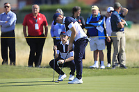 Conor Purcell (GB&I) and Alex Fitzpatrick (GB&I) on the 16th during Day 2 Foursomes of the Walker Cup, Royal Liverpool Golf CLub, Hoylake, Cheshire, England. 08/09/2019.<br />