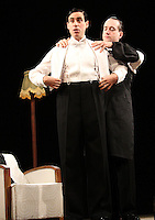 Matthew Macfadyen (as Jeeves) and Stephen Mangan (as Bertie Wooster) star in 'Perfect Nonsense' at the Duke Of York's Theatre, London - November 5th 2013<br />