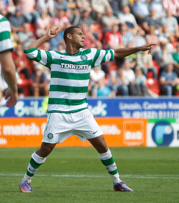 Ben Hutchinson celebrates after scoring his second goal and Celtic's third