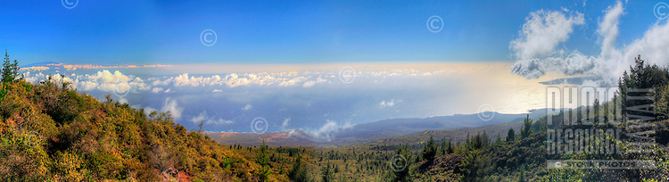 The view from Kaupo, Maui, with the island of Hawai'i and the last lava flows on Maui in the distance.