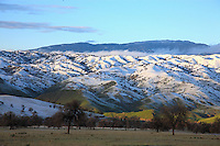 The snow-covered Golden Hills at the entrance to the San Joaquin Valley.