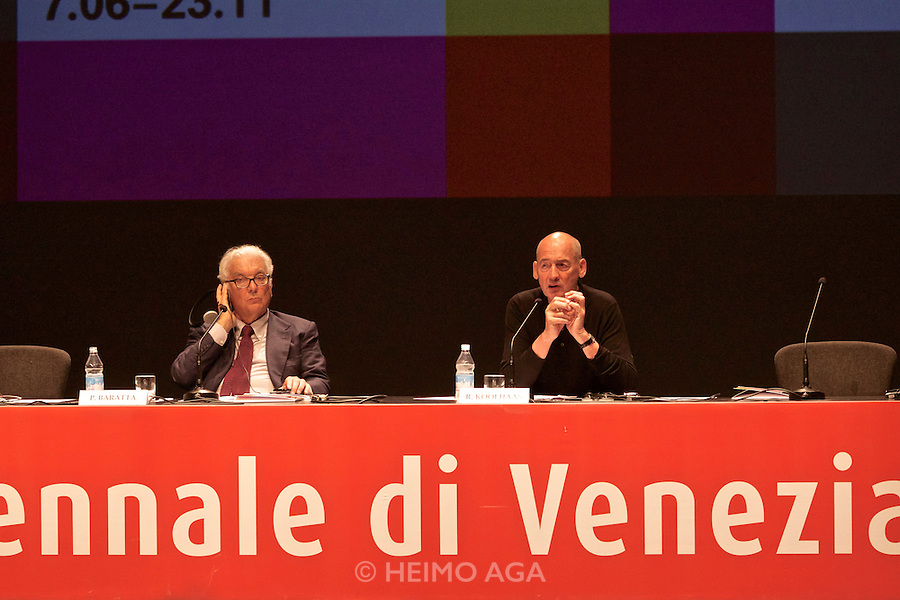 Venice, Italy. 14th Architecture Biennale 2014, &quot;fundamentals&quot;.<br /> Press conference with Biennale President Paolo Baratta (l.) and Director Rem Koolhaas.