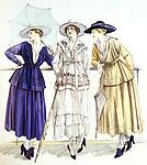"""Costume de Jersey, modeles de Gabrielle Chanel dite Coco Chanel, dessin paru dans la revue """"Les elegances parisiennes"""", mars 1917   ---  Jersey suit, models by Gabrielle Chanel published in magazine """"Les elegances parisiennes"""", march 1917"""