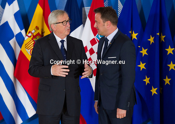 Belgium, Brussels - June 24, 2018 -- Informal working meeting on migration and asylum issues convened by Jean-Claude JUNCKER (le), President of the European Commission, here welcoming Xavier BETTEL (ri), Prime Minister of Luxembourg -- Photo © HorstWagner.eu