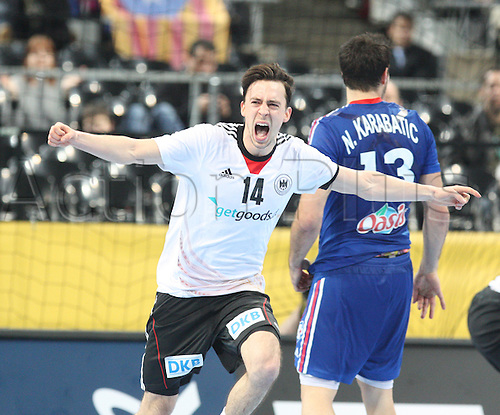 18.01.2013 Barcelona, Spain. IHF men's world championship, prelimanary round. Picture shows Patrick Groetzki celebrating a score during game between France vs Germany at Palau St Jordi