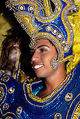 Rio de Janeiro, Brazil. Carnival; a woman in a very ornate headdress on a float in the parade.