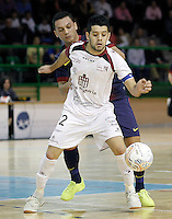 Caja Segovia's David Ruiz (f) and FC Barcelona Alusport's Saad Assis during Spanish National Futsal League match.November 24,2012. (ALTERPHOTOS/Acero) /NortePhoto