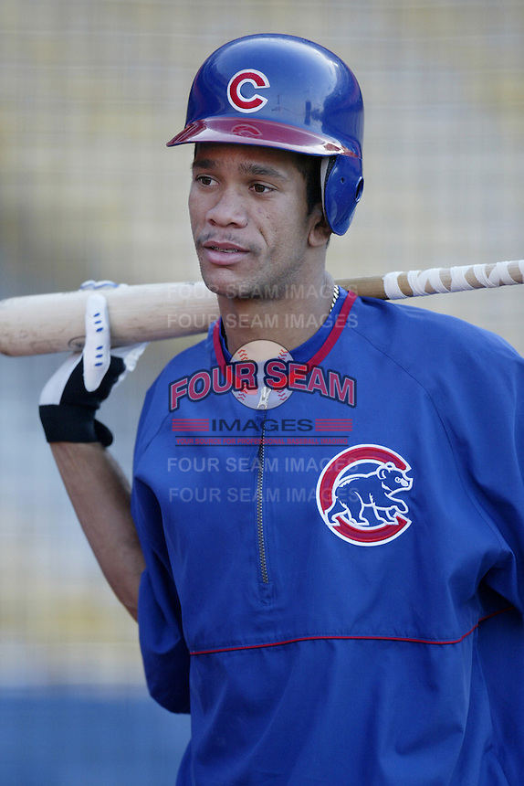 Juan Cruz of the Chicago Cubs before a 2002 MLB season game against the Los Angeles Dodgers at Dodger Stadium, in Los Angeles, California. (Larry Goren/Four Seam Images)