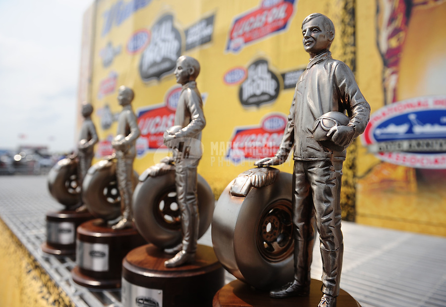 May 1, 2011; Baytown, TX, USA: Detailed view of NHRA race winner trophies also referred to as Wallys during the Spring Nationals at Royal Purple Raceway. Mandatory Credit: Mark J. Rebilas-