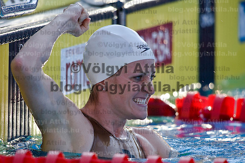 Annamay Pierse (CAN) reacts to winning the 200 m Women's Breaststroke Swimming competition during the 13th FINA Swimming World Championships held in Rome, Italy. Thursday, 30. July 2009. ATTILA VOLGYI