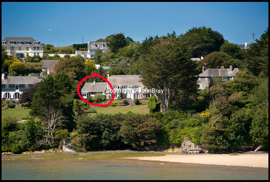 BNPS.co.uk (01202)558833<br /> Pic:  JohnBray/BNPS<br /> <br /> The property (circled), before its renovation.<br /> <br /> A stunning new-build beach retreat next door to Gordon Ramsay's controversial property project is on the market for £1.95m.<br /> <br /> Tregye is in the heart of the celebrity seaside hotspot of Rock, Cornwall, and has direct access to the beach and water.<br /> <br /> On the plot next door TV chef and restaurateur Ramsay has demolished a 1920s property and is replacing it with two luxury homes.<br /> <br /> The four-bedroom new-build house is now on the market with estate agents John Bray, who say it is the perfect holiday home.