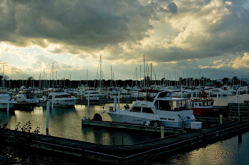 Boats docked at North Point Marina which is located in Winthrop Harbor, Illinois off Lake Michigan..