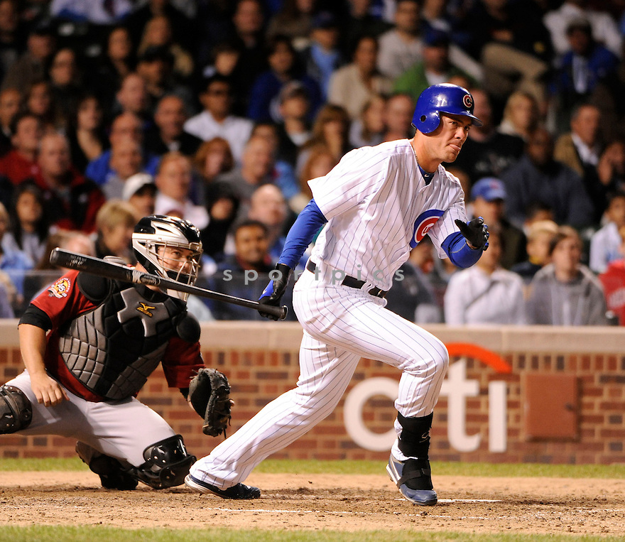 MICAH HOFFPAUIR, of the Chicago Cubs, in action during the Cubs game against the Houston Astros at Wrigley Field on September 8, 2010  in Chicago, IL...Astros beat the Cubs 4-0.