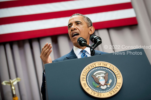 """United States President Barack Obama addresses American University's School of International Service in Washington, District of Columbia, U.S., on Wednesday, August 5, 2015. The speech focused on the Iran nuclear deal being debated in the US Congress.  American University was chosen as the venue by the White House because it is where former US President John F. Kennedy made his famous """"Pax Americana"""" speech on nuclear disarmament in 1963. President Obama's Iran Deal speech at AU falls on the 52nd anniversary of the signing of the Limited Nuclear Test Ban Treaty. <br /> Credit: Pete Marovich / Pool via CNP"""