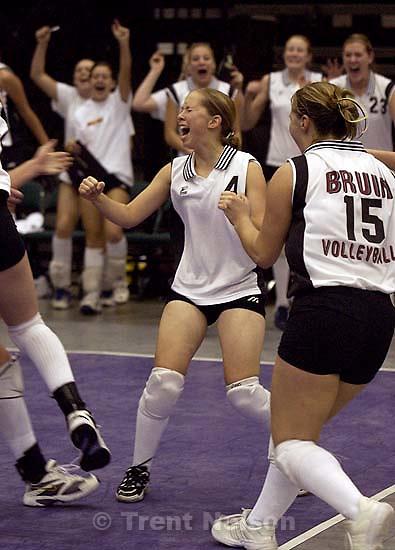 Mountain View's Tiffany Taylor (4) and teammates celebrate their upset win. Mountain View upsets previously unbeaten Provo in the 4a State Volleyball Tournament, Friday night at UVSC in Orem.&amp;#xA;. 11/02/2001, 7:20:47 PM<br />